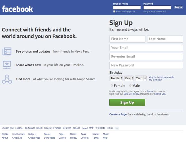 6 facebook homepage