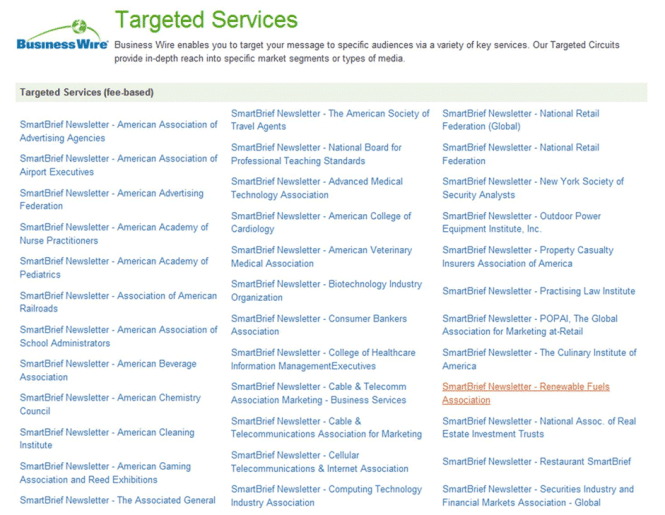 An Exle Of Business Wire Targeted Services Industry Targeting Options For Distributing Your Press Release