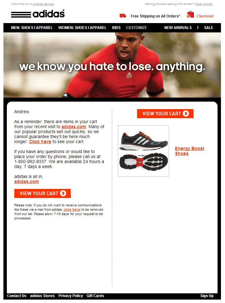 adidas-cart-email