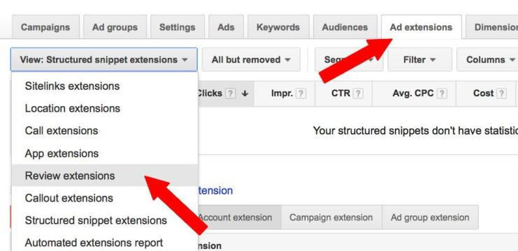 adwords-review-extensions