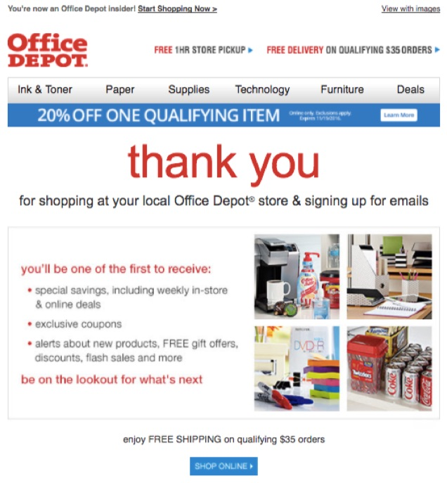 office-depot-welcome-email
