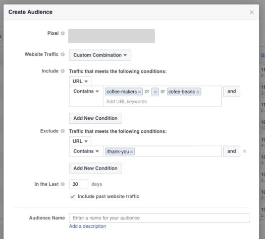 create audience custom combination Facebook