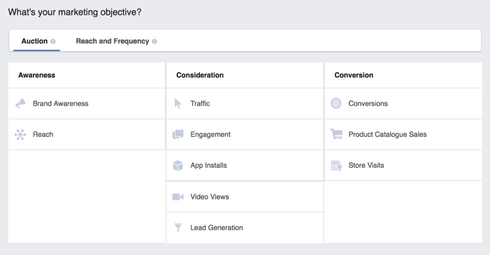 Facebook auction advertising options