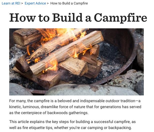 rei campfire article