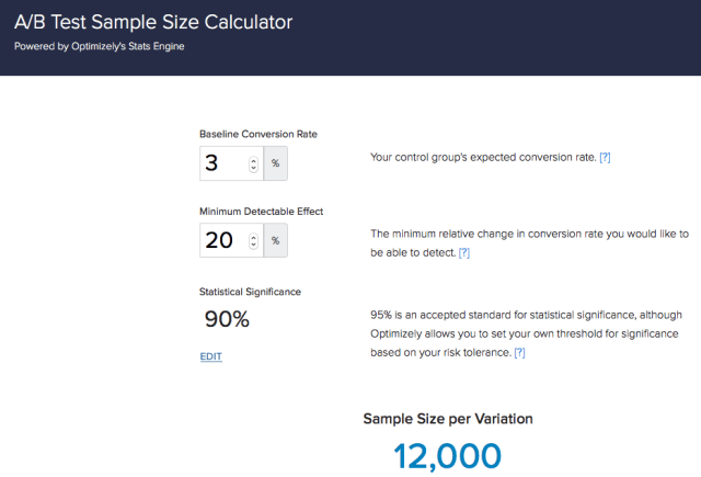 optimizely sample size calculator