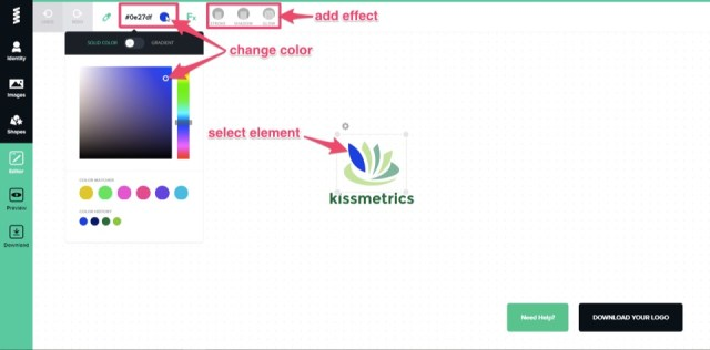 add effect change color logo creation in graphic spring