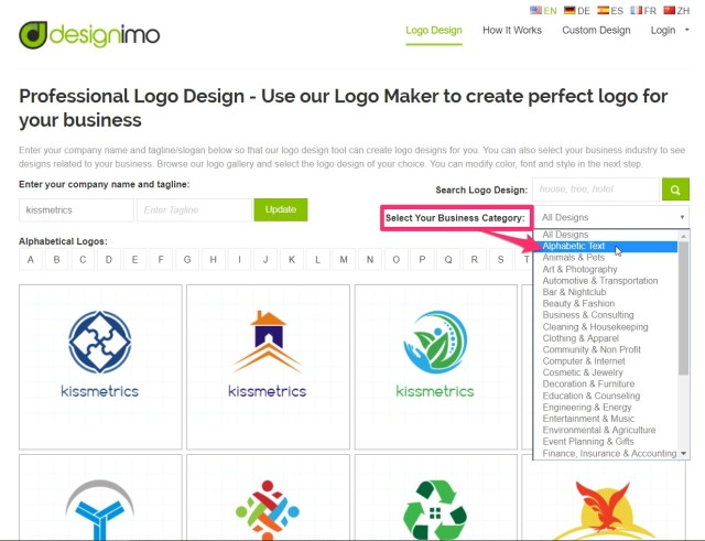 select business category in designimo