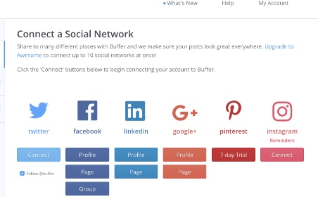 connect a social account on buffer