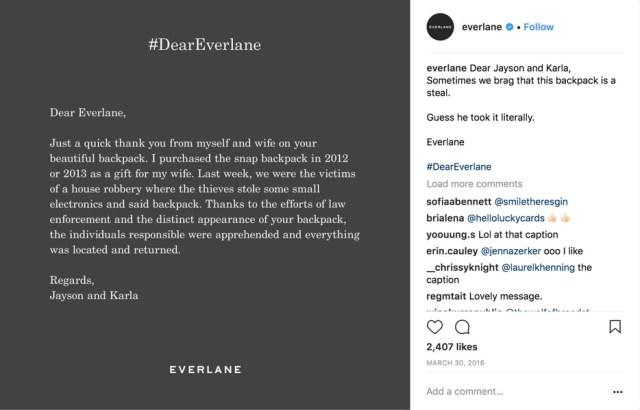 dear everlane instagram