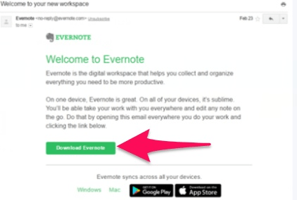 download evernote email
