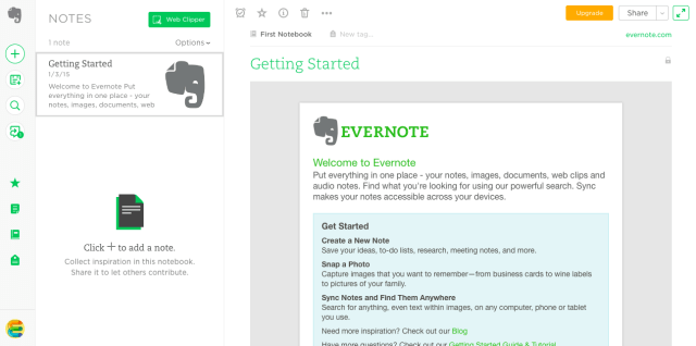 evernote getting started
