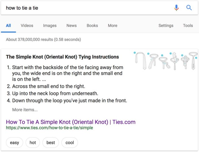 how to tie a tie rich snippet on google