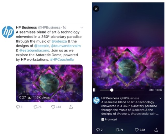 hp business mobile ad on twitter