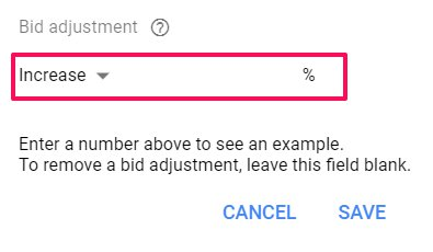 increase bid adjustment