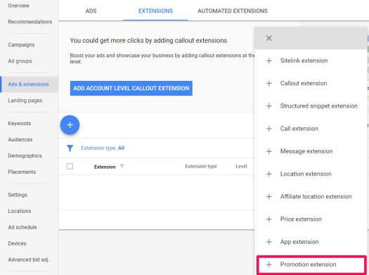 promotion extension adwords