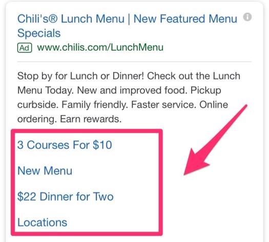 restaurant menu on adwords
