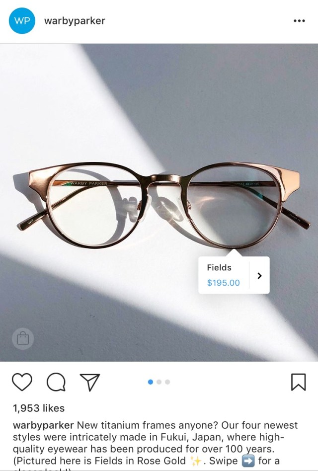 warby parker instagram shopping