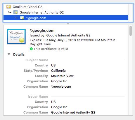 google ssl certificate