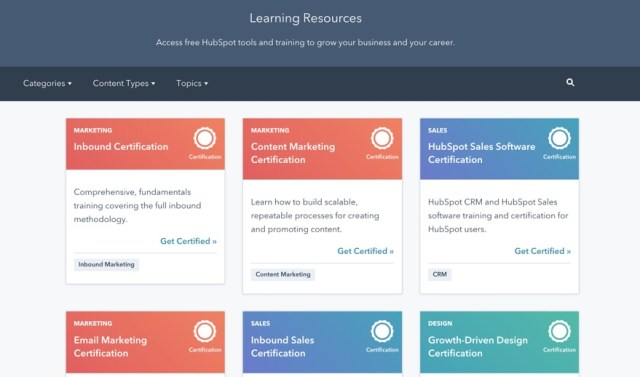 hubspot academy learning resources