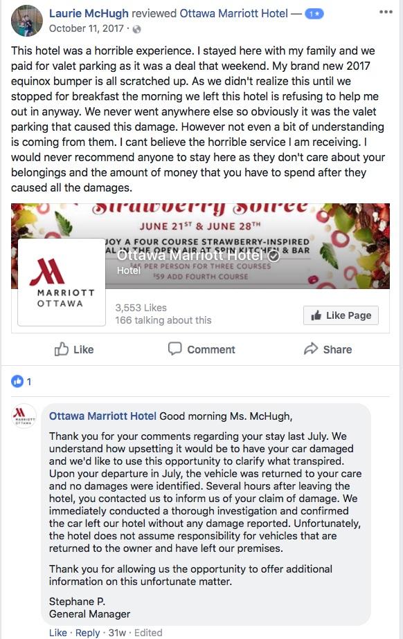 marriott facebook review response