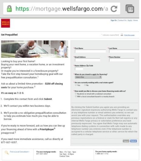 wells fargo mortgage mobile site