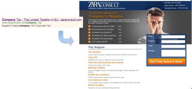 zara consult ad landing page