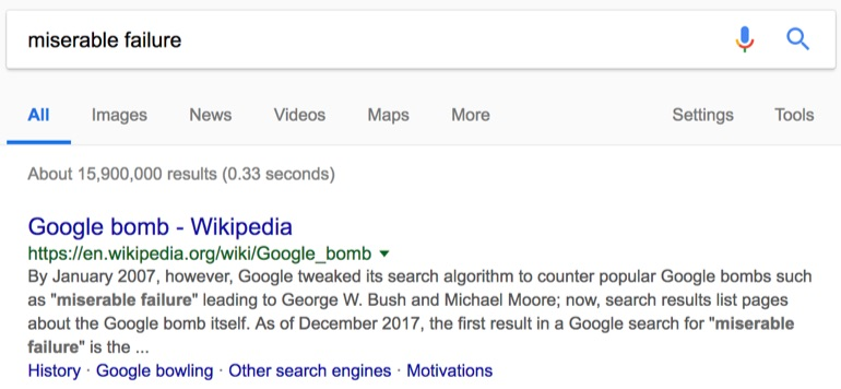 google bomb search result