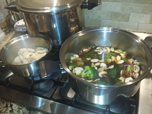 cooking chicken and vegetables for soup