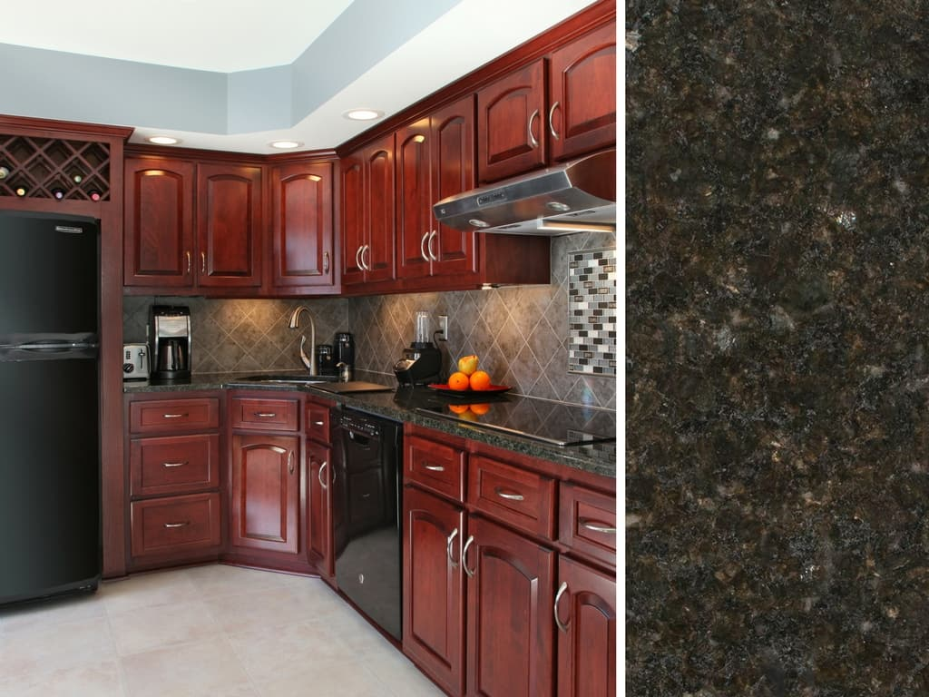 What Countertop Color Looks Best with Cherry Cabinets? on Backsplash Ideas For Black Granite Countertops And Cherry Cabinets  id=77488