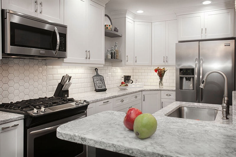 What Countertop Color Looks Best with White Cabinets? on What Color Cabinets Go Best With Black Granite Countertops  id=83599