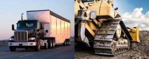 18 wheeler and construction vehicle