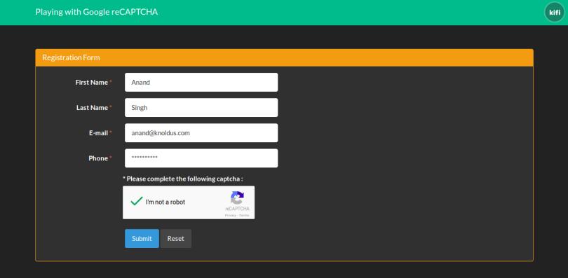 Google reCAPTCHA: Basic example to integrate Google reCAPTCHA in