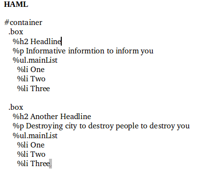 haml code