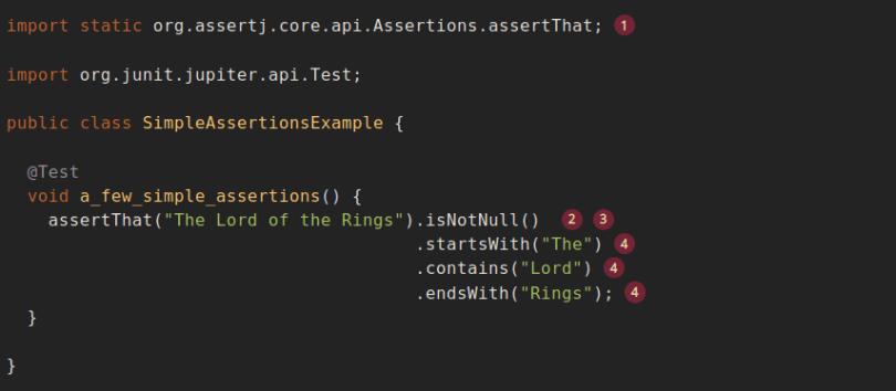sample assertion in assertj