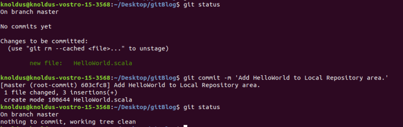 Commit moves content from staging to repository area.