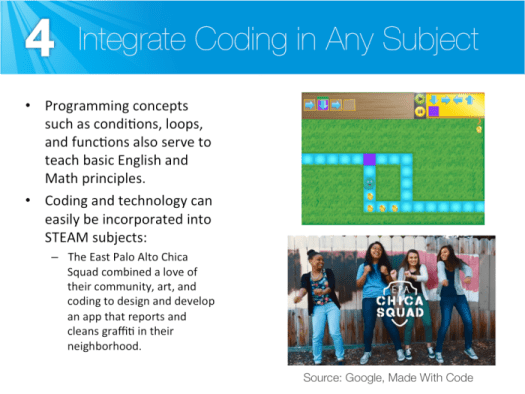 Integrate coding in any school subject