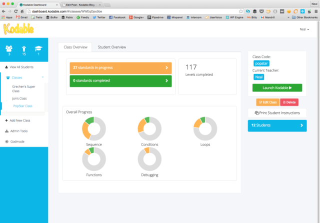 Kodable Dashboard is ready to use