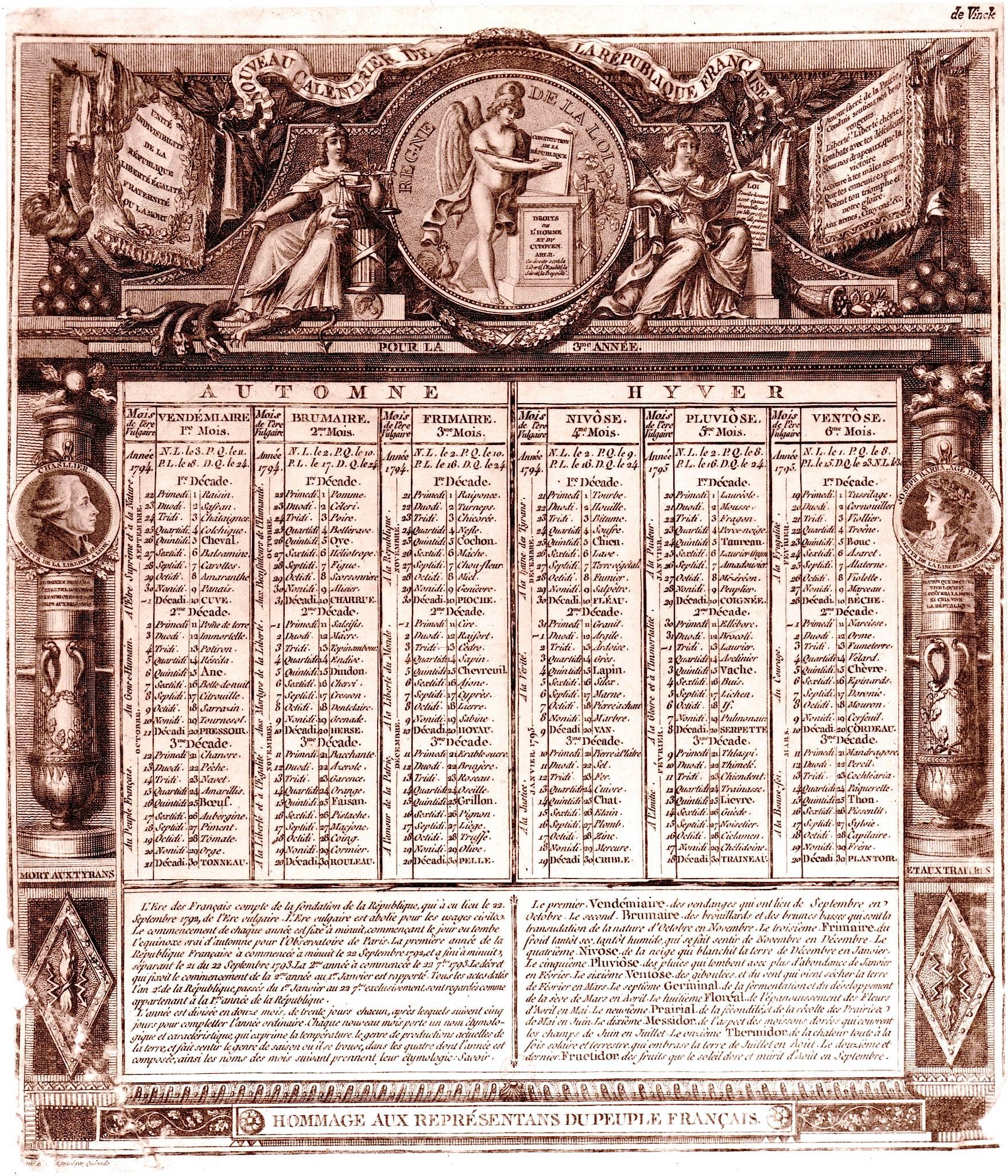 Calendrier Républicain mettant en exergue que le 12 octobre / 21 Vendémiaire est le jour du Chanvre.