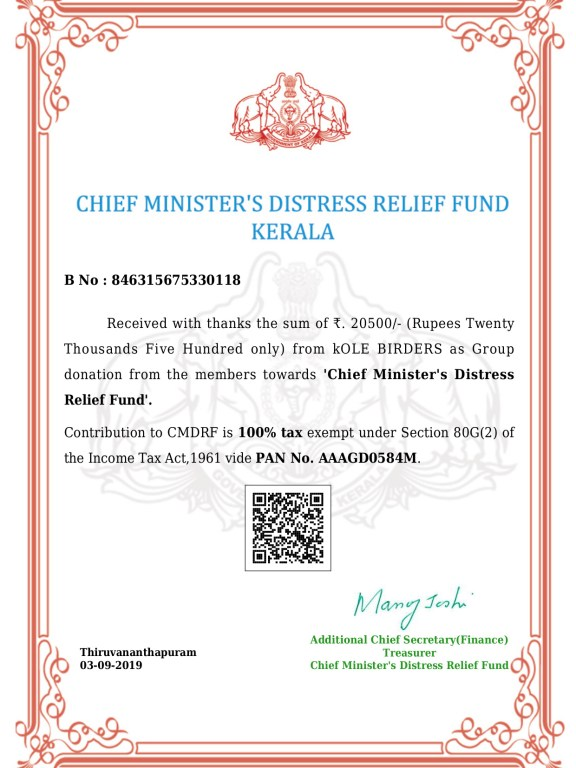 Kole Birders Contribution towards Chief Minister's Distress Relief Fund
