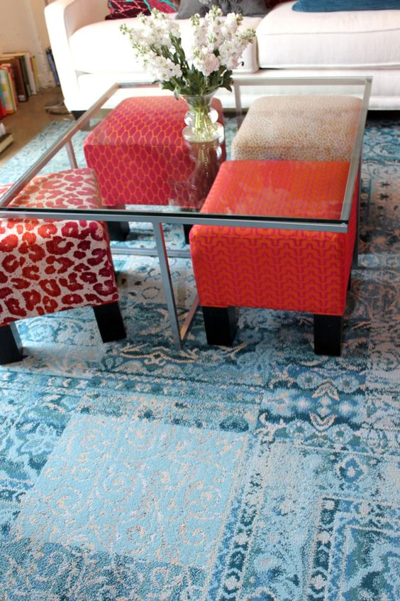 colorful four piece ottoman coffee