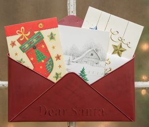 metal santa christmas holiday envelope
