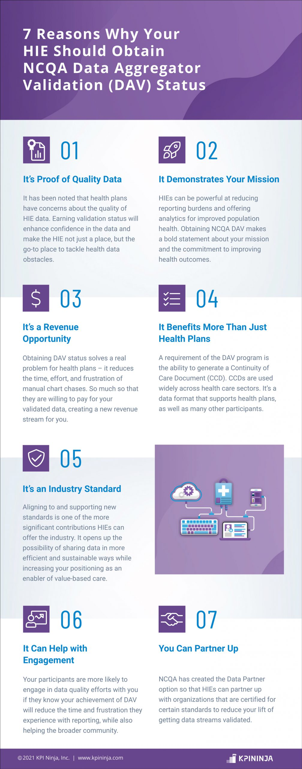 7 Reasons Why Your HIE Should Obtain NCQA Data Aggregator Validation (DAV) Status | infographic