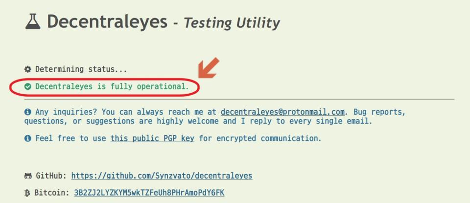 Decentraleyes 從電腦端讀取資源測試頁面