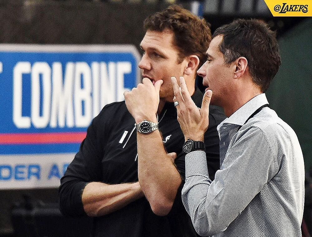 湖人總教練 Luke Walton 和 Rob Pelinka 參觀 2017 draft combine測試