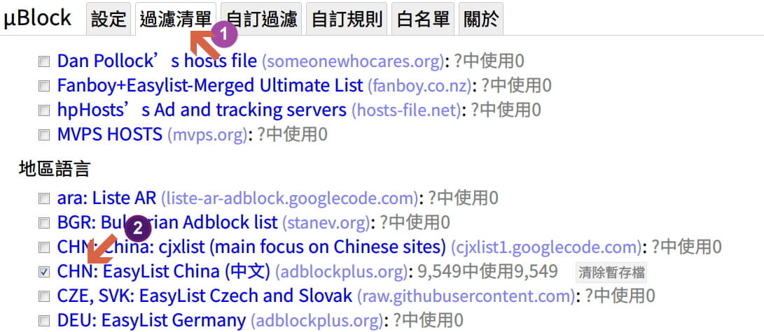 uBlock Origin 訂閱內建規則