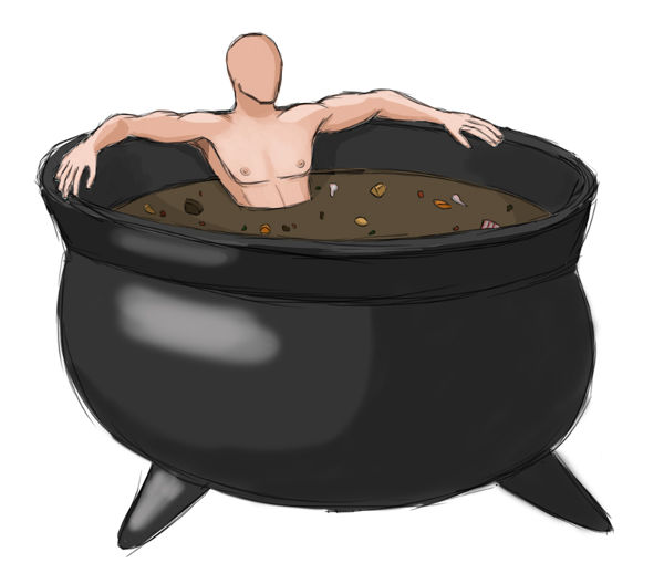 Photoshop painting of a man (with no face) relaxing in a giant cauldron of stew