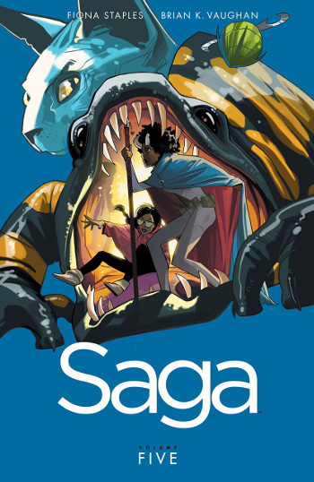 Graphic Novel Review: Saga Vol. 5 by Brian K. Vaughan & Fiona Staples | books, reading, book covers, book reviews, graphic novels, fantasy, sci-fi