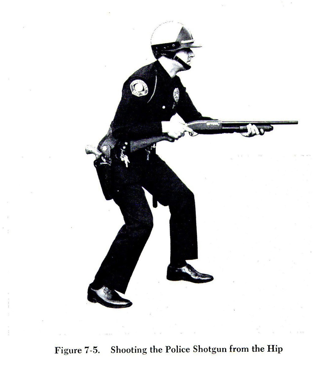 Shooting the police shotgun from the hip