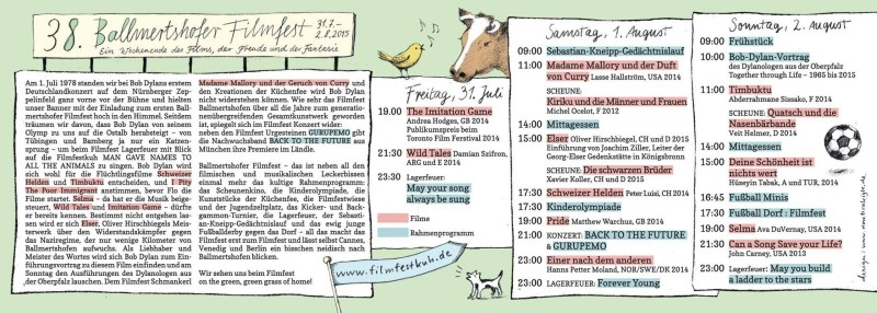 Ballmertshofer Filmfest, Programm, 2015