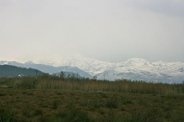 Schnee bedeckte Berge auf Mallorca am 10.03.2010